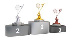 Van het badminton gouden zilver en brons trofeeën met shuttles op podium in oneindige omwenteling vector illustratie