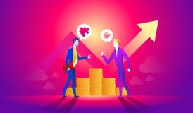 Van het bedrijfs beeldverhaalkarakter mensen die en idee voor het maken van geld spreken voorstellen Contractovereenkomst vector illustratie