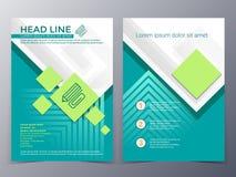 Van het bedrijfs en technologie het malplaatjevector brochureontwerp Stock Afbeeldingen
