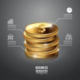 Van het Bedrijfs infographic Gouden Muntstuk Malplaatje conceptenvector Royalty-vrije Stock Foto's