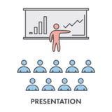 Van het bedrijfs lijnpictogram presentatie Vector symbool Stock Foto