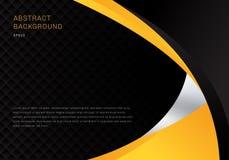 Van het bedrijfs malplaatje abstracte gele en zwarte contrast collectieve krommenachtergrond met de textuur van het vierkantenpat stock illustratie
