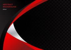 Van het bedrijfs malplaatje abstracte rode en zwarte contrast collectieve krommenachtergrond met de textuur van het vierkantenpat royalty-vrije illustratie