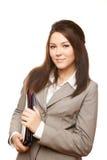 Van het bedrijfs portret succesvolle vrouw met documenten Royalty-vrije Stock Foto's