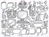 Van het Bedrijfs werk van de Elektronika van de krabbel reeks vector illustratie