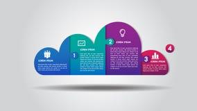 Van het bedrijfs wolkenontwerp infographics 4 stappenopties brengt vector voor grafiek, diagram, Webontwerp, presentatie, werksch stock afbeeldingen