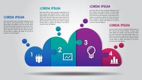 Van het bedrijfs wolkenontwerp infographics 4 stappenopties brengt vector voor grafiek, diagram, Webontwerp, presentatie, werksch stock afbeelding
