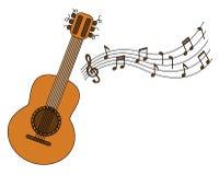 Van het beeldverhaal akoestische gitaar en blad muziek Stock Afbeelding