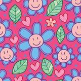 Van het het beeldverhaalblad van de bloemglimlach het naadloze patroon Stock Foto's