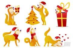 Van het beeldverhaalkarakters van de Kerstmishond de vectorillustratie De gele honden in verschillend stelt vector vlak ontwerp N Royalty-vrije Stock Fotografie