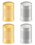 Van het blik de vastgestelde pictogrammen van het metaaltin vectorillustratie Royalty-vrije Stock Afbeelding
