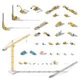 Van het bouwmachines en materiaal lowpoly isometrische pictogramreeks Stock Fotografie