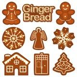 Van het het broodkoekje van de Kerstmisgember de kleurrijke heldere reeks Stock Afbeeldingen