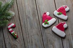 Van het broodkoekjes van de Kerstmisgember achtergrond van de het houtlijst de oude voor grafisch en Webontwerp, Modern eenvoudig stock foto