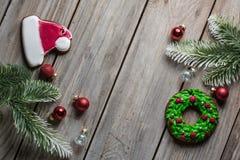Van het broodkoekjes van de Kerstmisgember achtergrond van de het houtlijst de oude voor grafisch en Webontwerp, Modern eenvoudig royalty-vrije stock fotografie