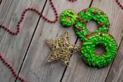 Van het broodkoekjes van de Kerstmisgember achtergrond van de het houtlijst de oude voor grafisch en Webontwerp, Modern eenvoudig stock afbeelding