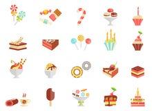 Van het cakesuikergoed en roomijs pictogrammen vector illustratie