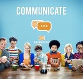 Van het communicatie Online Sociaal de Media Verbindingspraatje Concept Stock Foto