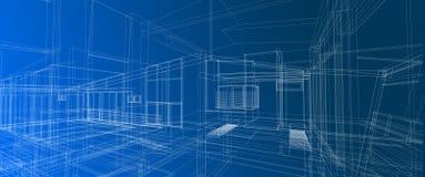 Van het het concepten 3d perspectief van het architectuur binnenlands ruimteontwerp wit de draadkader die gradiënt maken blauwe a royalty-vrije illustratie