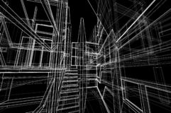 Van het het concepten 3d perspectief van het architectuurontwerp binnenlands de draadkader die zwarte achtergrond teruggeven stock illustratie