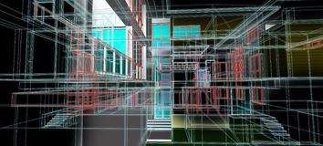 Van het het concepten het 3d perspectief van het architectuurontwerp de draadkader kleurrijke teruggeven met wat materiële zwarte stock illustratie