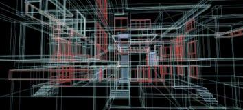 Van het het concepten 3d perspectief van het architectuurontwerp van het de draadkader kleurrijke teruggevende zwarte achtergrond vector illustratie