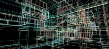 Van het het concepten 3d perspectief van het architectuurontwerp van het de draadkader kleurrijke teruggevende zwarte achtergrond royalty-vrije illustratie