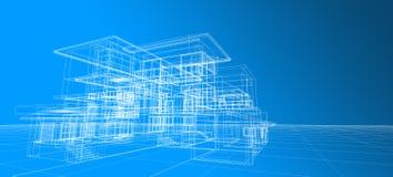 Van het het concepten 3d perspectief van het architectuurontwerp wit de draadkader die op gradiënt blauwe achtergrond teruggeven vector illustratie