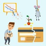 Van het het conceptenprobleem van crisissymbolen van de economiebankzaken van het de financiënontwerp van het de investeringspict stock illustratie
