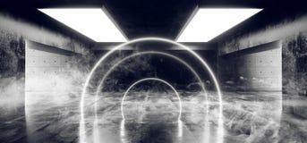 Van het de Achtergrond cirkel Boogvormige Neon van FI van rooksc.i het Gloeien Concrete Cyberpunk Witte Blauwe Purpere Grunge Wee stock illustratie