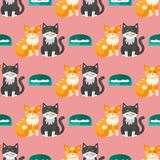 Van het de achtergrond illustratie leuk dierlijk grappig naadloos patroon van kattenhoofden vectorkarakters katachtig binnenlands vector illustratie