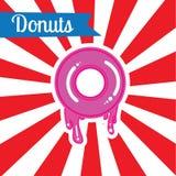 Van het de afficheprijskaartje van de pop-art donuts kaart de illustratieachtergrond Stock Afbeelding