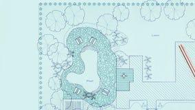 Van het de architectenontwerp van het blauwdruklandschap de binnenplaatsplan stock footage