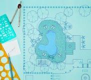 Van het de architectenontwerp van het blauwdruklandschap de binnenplaatsplan Stock Fotografie