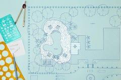 Van het de architectenontwerp van het blauwdruklandschap de binnenplaatsplan Stock Foto's