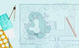 Van het de architectenontwerp van het blauwdruklandschap de binnenplaatsplan Royalty-vrije Stock Afbeeldingen