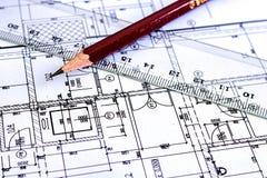 Van het de Architectuurdetail van de bouwtekening het Witboek met afmetingen en lijnen royalty-vrije stock afbeeldingen