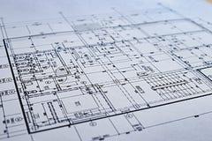 Van het de Architectuurdetail van de bouwtekening het Witboek met afmetingen en lijnen stock foto's