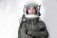 Van het de astronautenruimteschip van vliegtuigen de manier van de de helmvrouw royalty-vrije stock foto