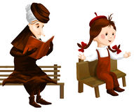 Van het de bank clipart beeldverhaal van het oud wijfmeisje het wit van de de stijlillustratie Royalty-vrije Stock Foto's