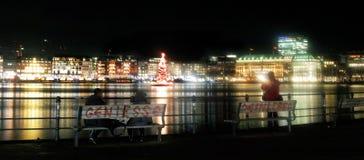 Van het de Bank het Stille huis van Hamburg van de het venstervakantie licht van de taxihuizen stock foto