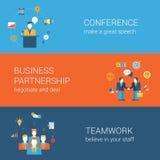 Van het de bannersmalplaatje van het bedrijfsmensen vlakke Web vastgestelde infographic Stock Afbeeldingen