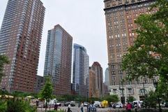 Van het de Batterijpark van New York de Stadsgebouwen Stock Foto