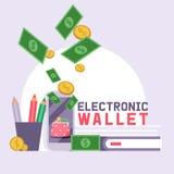 Van het de bedrijfs financiënleer van het portefeuille vectorpatroon de beurs zakportefeuille met de illustratieachtergrond van  vector illustratie