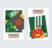 Van het de bedrijfs financiënleer van het portefeuille vectorpatroon de beurs zakportefeuille met de reeks van de de illustratie stock illustratie