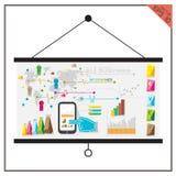 Van het de Bedrijfs muntgeld van de grafiekkaart infographic telefoonvector Royalty-vrije Stock Foto