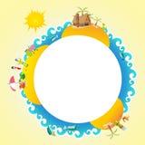 Van het de bedrijfs zomerkenteken van de Tikireis de banner het vectormensen als achtergrond en element van de het eilandvakantie Royalty-vrije Stock Foto's