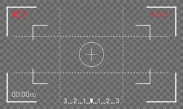 Van het de beeldzoekerscherm van het camerakader vector de videorecorder digitale vertoning op transparante achtergrond royalty-vrije illustratie