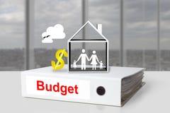 Van het de begrotingshuis van het bureaubindmiddel het symbool van de de familiedollar Royalty-vrije Stock Foto's