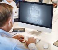 Van het de Behandelingspictogram van de het ziekenhuis het Dwarsgezondheid Grafische Concept Stock Foto's
